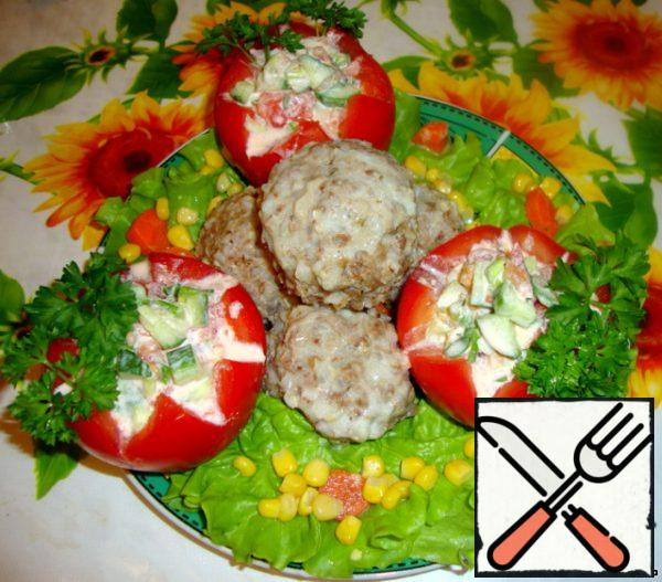 Tomatoes stuffed with salad, I served with ground beef and buckwheat hedgehogs instead of garnish.