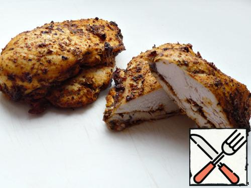 It is advisable to take a chicken breast baked in spices for the salad.