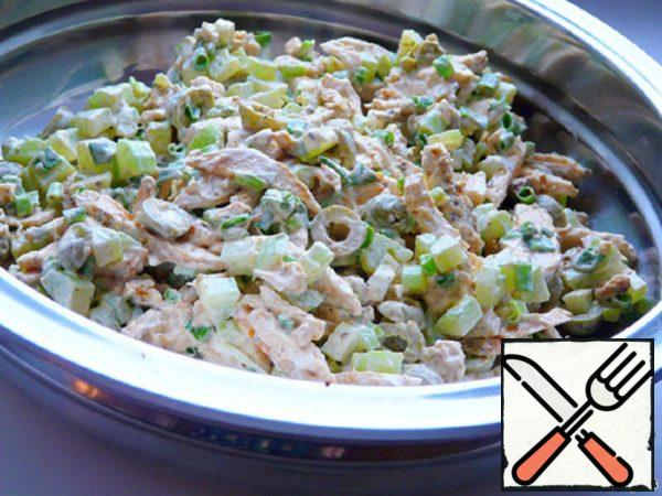 Salad with baked Chicken and Celery Recipe