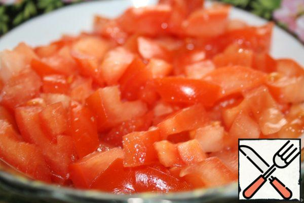 Tomatoes are also diced.