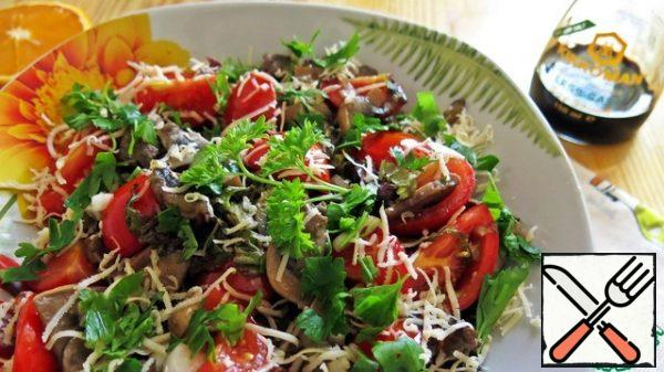 Give the salad a little brew, serve with grated cheese and fresh herbs!