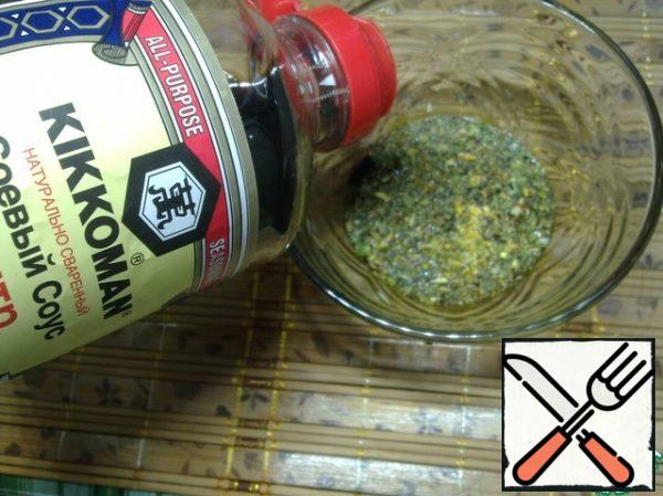 Mix the salad dressing with the remaining soy sauce.