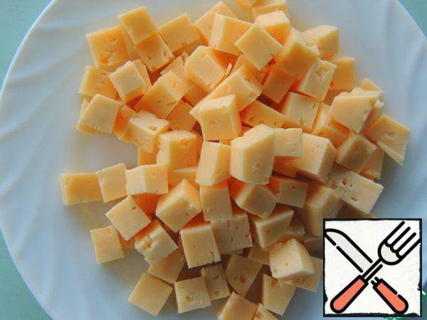 Cheese is also diced.