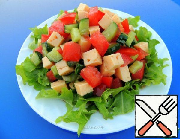 Vegetable Salad with Cheese and Soy Sauce Recipe