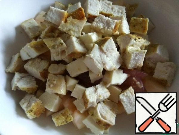 Remove the breast from the pan, cool and cut into small pieces. Add to the remaining ingredients.