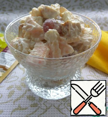 For dressing, mix soft cottage cheese and lemon juice. Add to the remaining ingredients and mix. Put in serving salad bowls and serve.