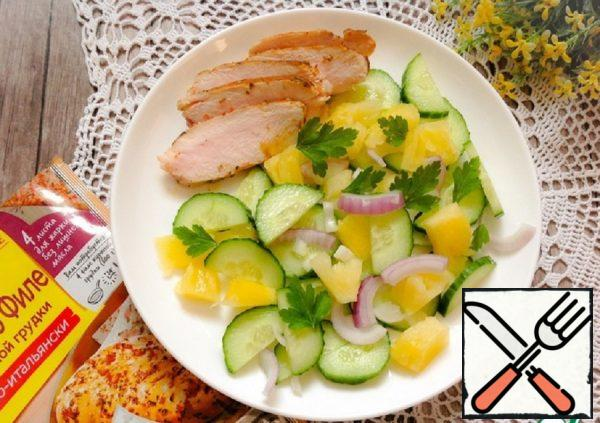 Salad with Chicken, Cucumber and Pineapple Recipe