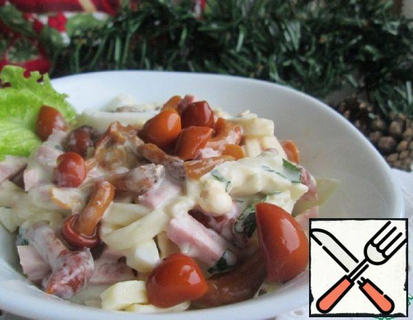 Salad with pickled Mushrooms and Ham Recipe