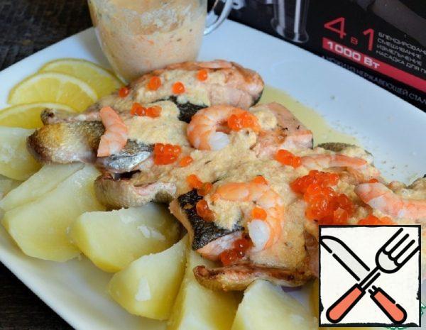 Grilled Chum Salmon with Shrimp and Cream Sauce Recipe