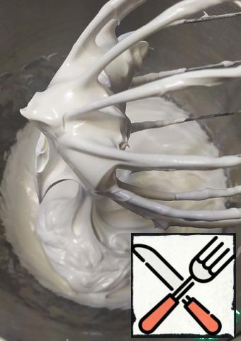 Beat the meringue until tender. It should be quite dense. And don't run off the whisk.