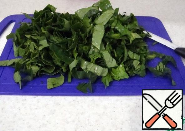 Chop the spinach.