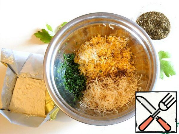 Combine everything in a bowl and season with spices. Mix the contents of the bowl, taste for salt and sharpness, if necessary, adjust.