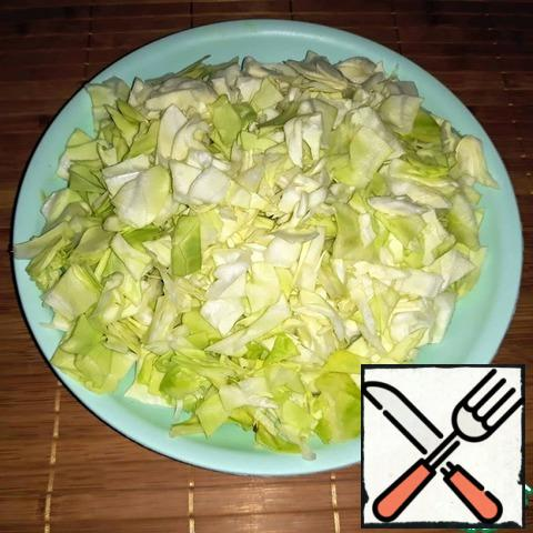 Slice the avocado and cabbage.