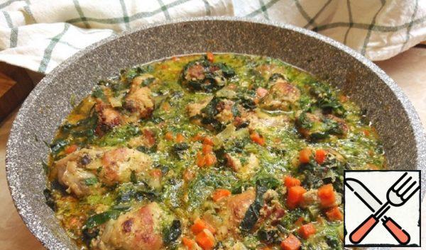 Chicken in Milk-Spinach Sauce Recipe