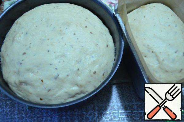 Forms with blanks cover with a film and remove to a warm place for 1 hour. After the specified time, the dough grew. The oven is preheated to 180 degrees.