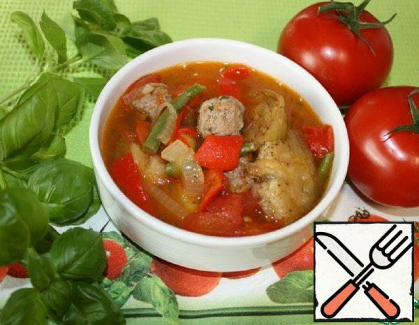 "Soup with Vegetables and Meatballs ""Fried"" Recipe"