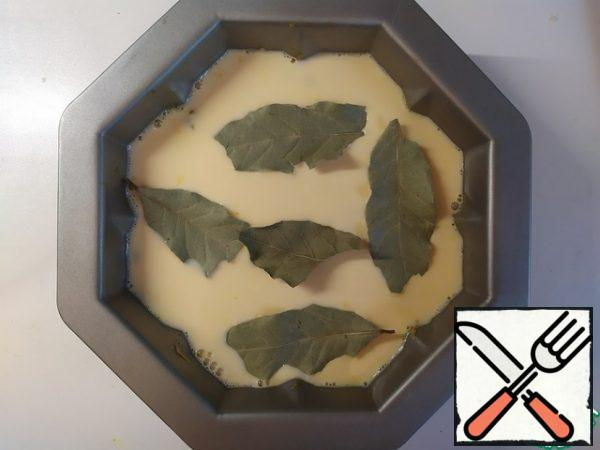 Lay out the Bay leaves on top. And send it to the oven for 40 minutes.
