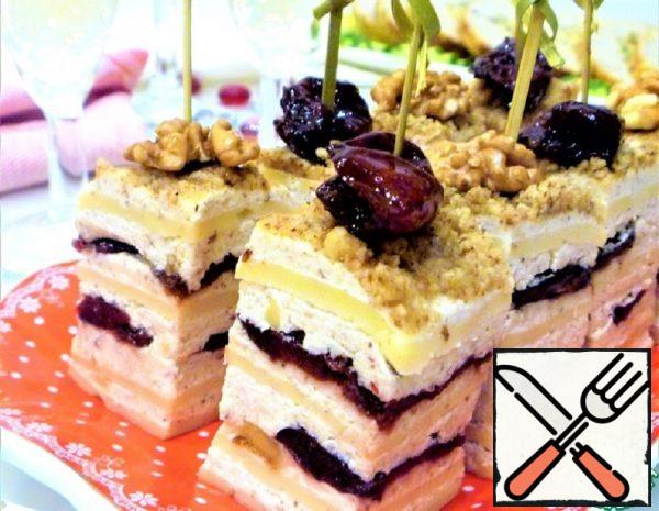 """Canape """"Three Cheeses"""" with Nuts and Plums Recipe"""