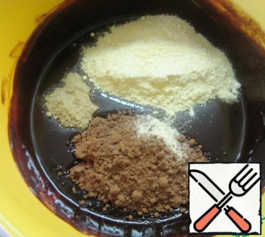 Add cornmeal, cocoa and ginger to the chocolate mixture (I used dry, crushed ginger). Gently mix with a spatula.