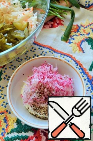 Mix sour cream, grated radish (you can use horseradish), sugar, mustard, pepper.
