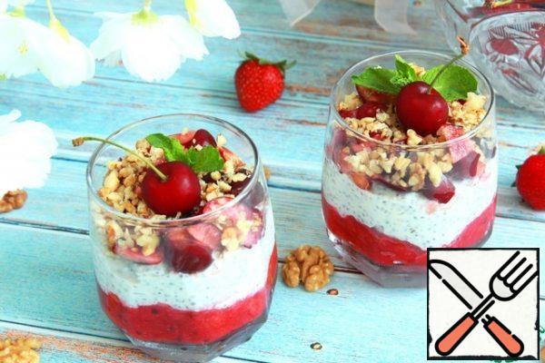 Before serving, put the cherry cut into pieces on top and sprinkle with chopped nuts. Garnish as desired and serve.