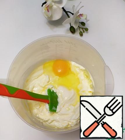 Add one egg at a time, mixing well each time.