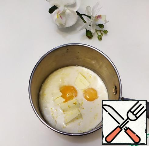 For the chicken, mix all the ingredients (lemon juice, sugar, corn starch, yolks, milk, butter, lemon zest) in a saucepan and cook over medium heat for 2-3 minutes after boiling, until thick.