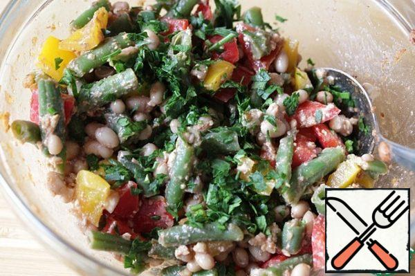 Add the chopped coriander and mix thoroughly but gently. Cover the salad with a lid or cling film and put it in the refrigerator for at least half an hour, or better longer (I usually let it infuse for several hours). Before serving, mix the salad again.