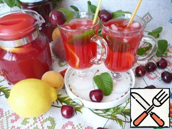 Then strain the drink through a fine sieve and pour into a jug. Cut the lemon into thin slices and send it to a jug with cherry lemonade. Serve the cherry lemonade chilled, with lemon slices, ice cubes and mint leaves. Store homemade lemonade in the refrigerator.