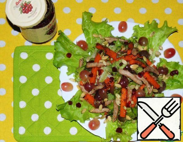 Warm Meat Salad with baked Pumpkin and Lingonberry Sauce Recipe