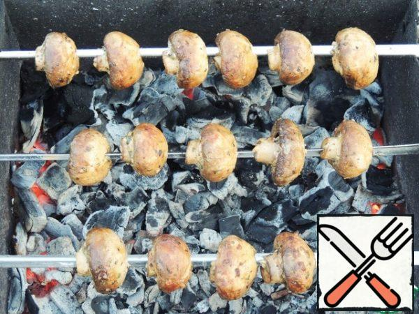 String the mushrooms on skewers (sharp corners are better-then the mushrooms will not break and turn over). Cook on coals for 10-15 minutes.