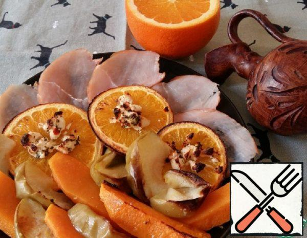 Pumpkin baked with Oranges and Feta Recipe