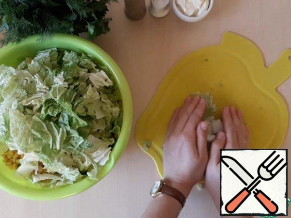 Tear with your hands or cut the Chinese cabbage. Add it to the container with the rest of the ingredients.