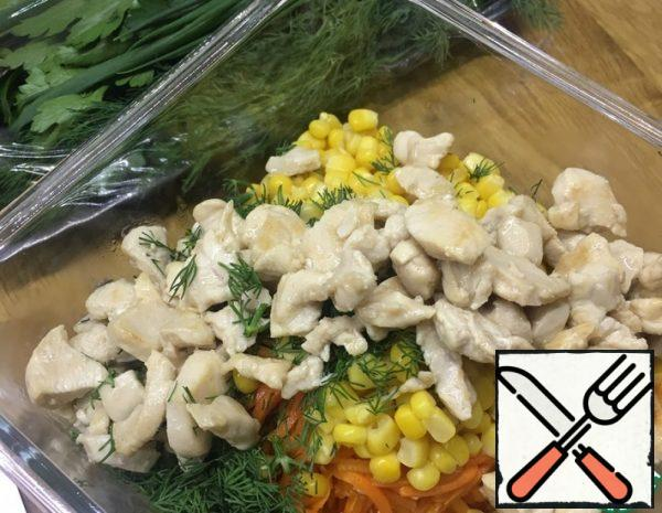 Salad with Corn and Korean Carrots Recipe