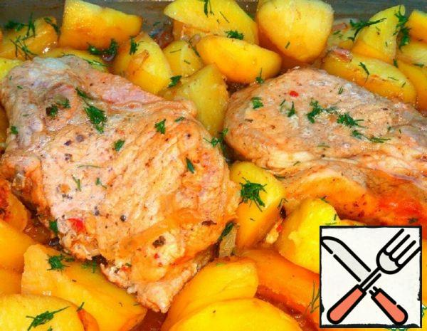 Baked Loin on the Bone with Potatoes Recipe