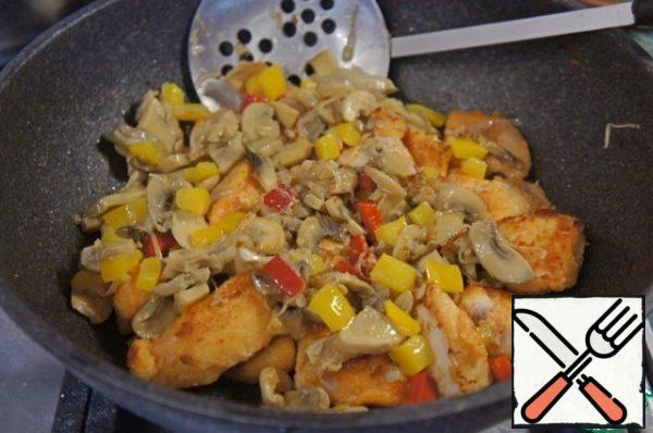Add the vegetable and mushroom mixture.