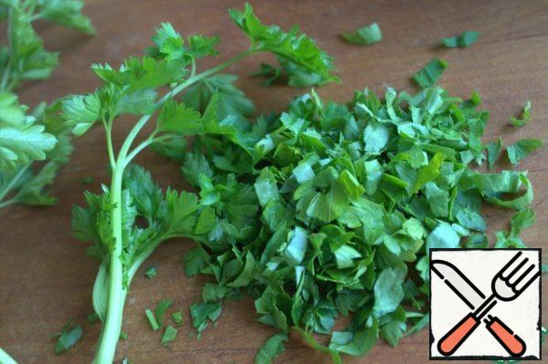 Cut parsley or other herbs.