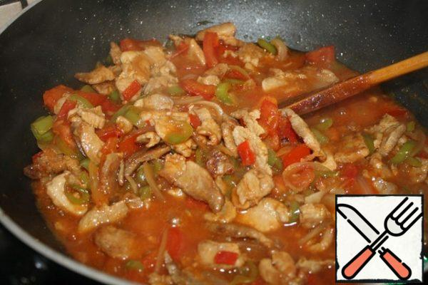 Then add the tomatoes and fry until soft. Add soy sauce and cabbage. My cabbage is young, so it takes about 3 to 5 minutes to cook. Salt to taste.