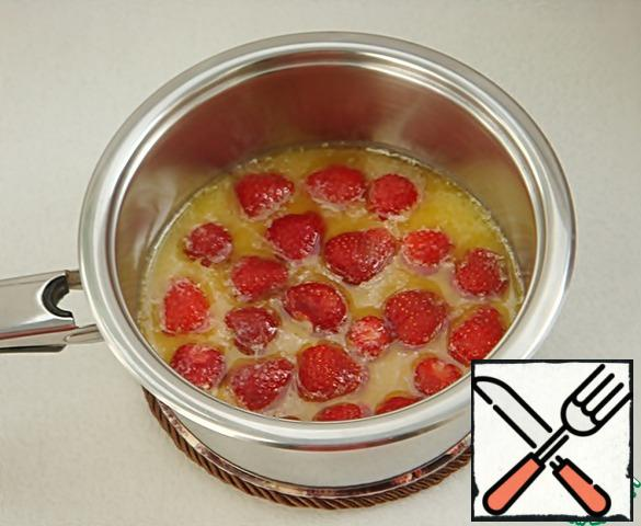 Add strawberries. If you use frozen, you don't need to defrost it.