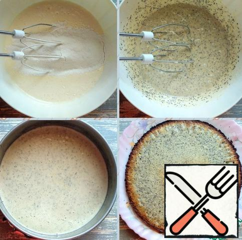 Sift the flour and mix with a mixer at low speed. Add the poppy seeds and mix again. Transfer the dough to a detachable baking dish (diameter 20 cm), cover the bottom with foil or parchment. Cook in an oven preheated to 180 degrees for 20 minutes. Remove the mold from the oven, let stand for 10-15 minutes, then remove from the mold.