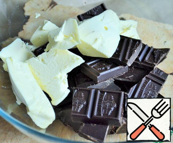 In a water bath or in the microwave melt the chocolate and butter.