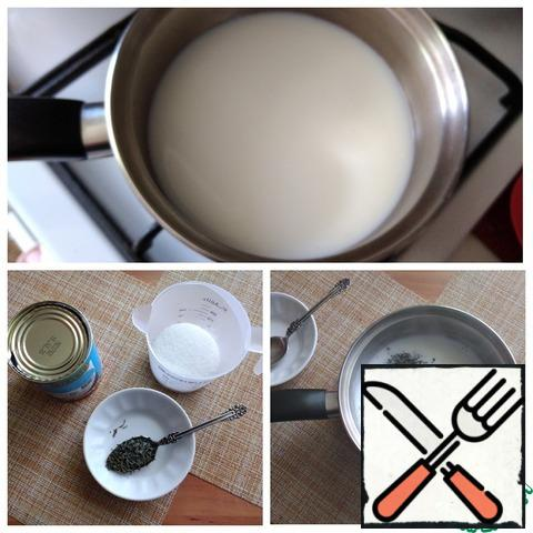 Put a saucepan with milk on the stove and bring to a boil. Add the sugar and combine until it is completely dissolved. Remove from the heat and put the green tea in the milk. Stir.