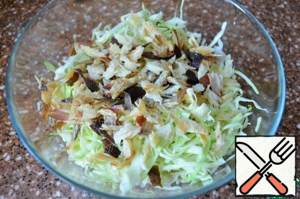 Smoked flounder to pick hands, small strips, mix with cabbage.