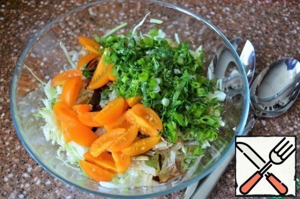 Greens wash, dry, chop finely, add. Stir, fill with oil.