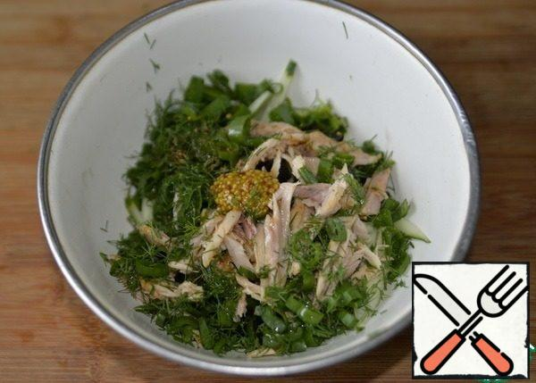 Put chopped dill and green onions in the salad. Add salt, pepper mixture, mustard, olive oil to taste.