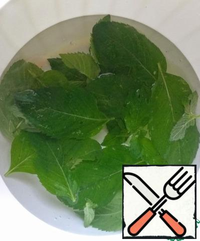 Wash the mint leaves.