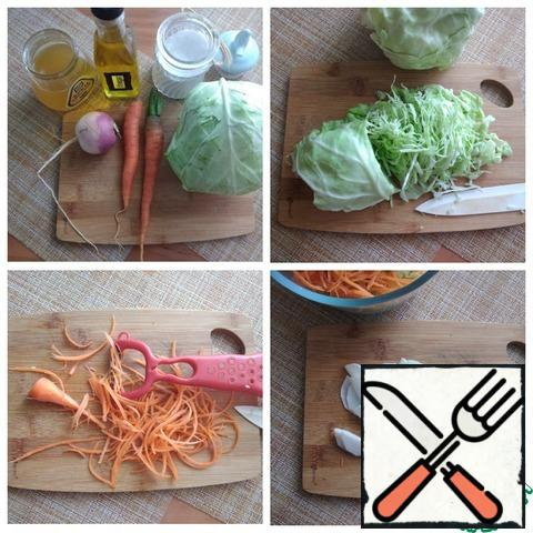 """Vegetables all young vegetable straight from the garden. Remove from the head of cabbage 5 PCs of whole leaves, cut them in thick streaks, stacked pile, and then twisted into a roll. Cut into approximately 1 mm thick, thin """"noodles."""" Carrot RUB on a grater for Korean carrot. If not, then RUB on a regular grater medium size. Turnips cut into thin plates."""