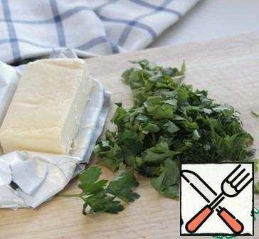 Heat the butter in a frying pan. Cut the greens and put them in the hot oil for 5-7 seconds, turn off the heat, and mix.