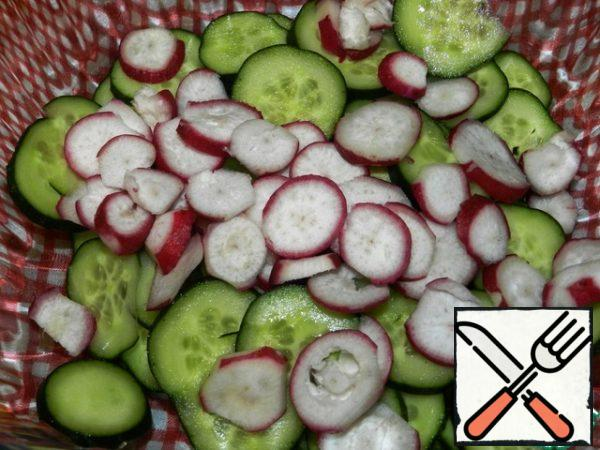 Cucumbers and radishes cut into circles.