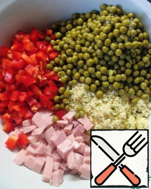 Add the peas (pre-drain the liquid from the jar).